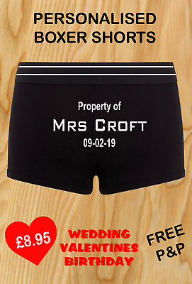 100% QualitäT Personalised Boxer Shorts Groom Wedding Husband Gift Property Of Printed Und Verdauung Hilft