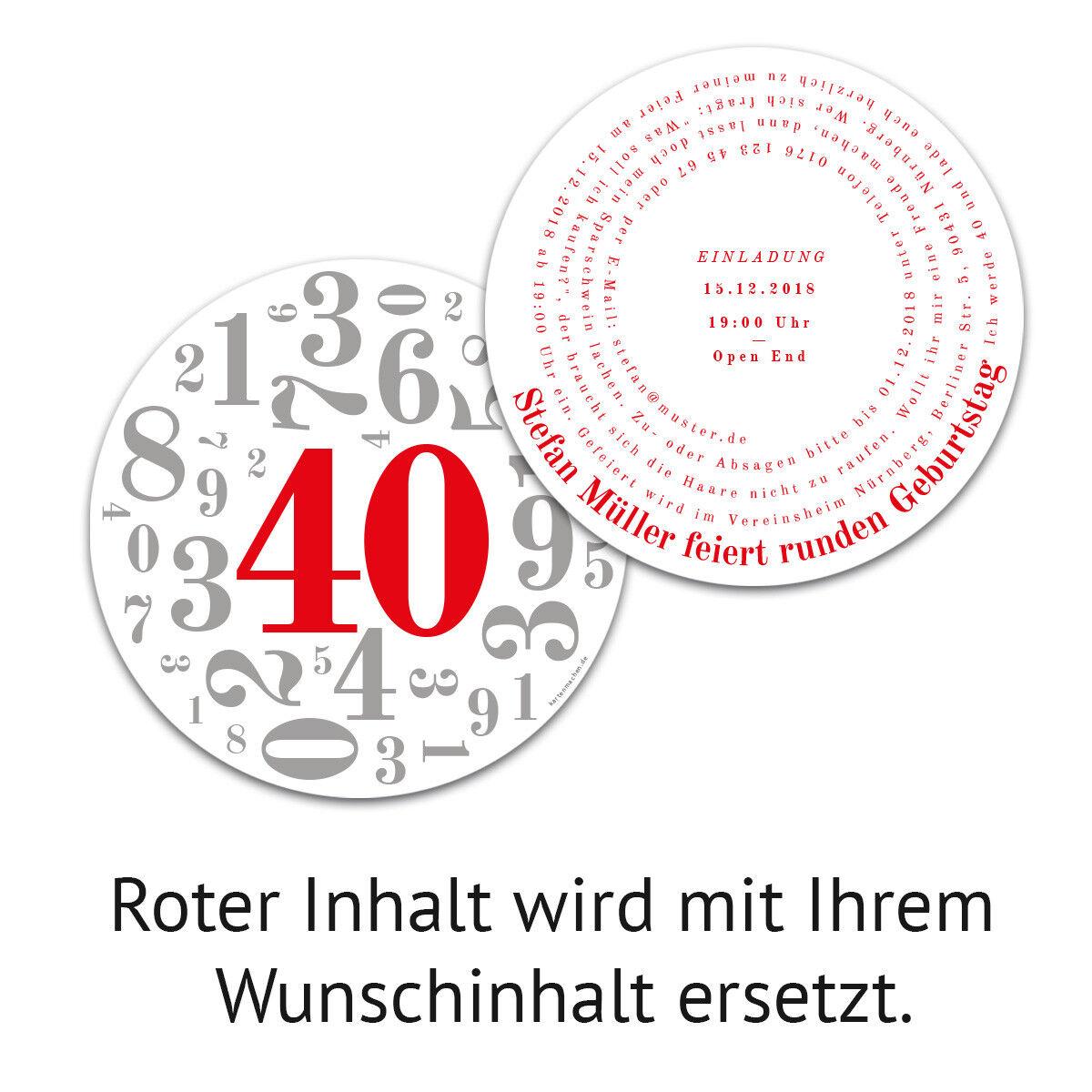 Runde Einladungen Geburtstag 40 Jahre Einladungskarten Karten Karten Karten - Zahlencollage 37bb7f
