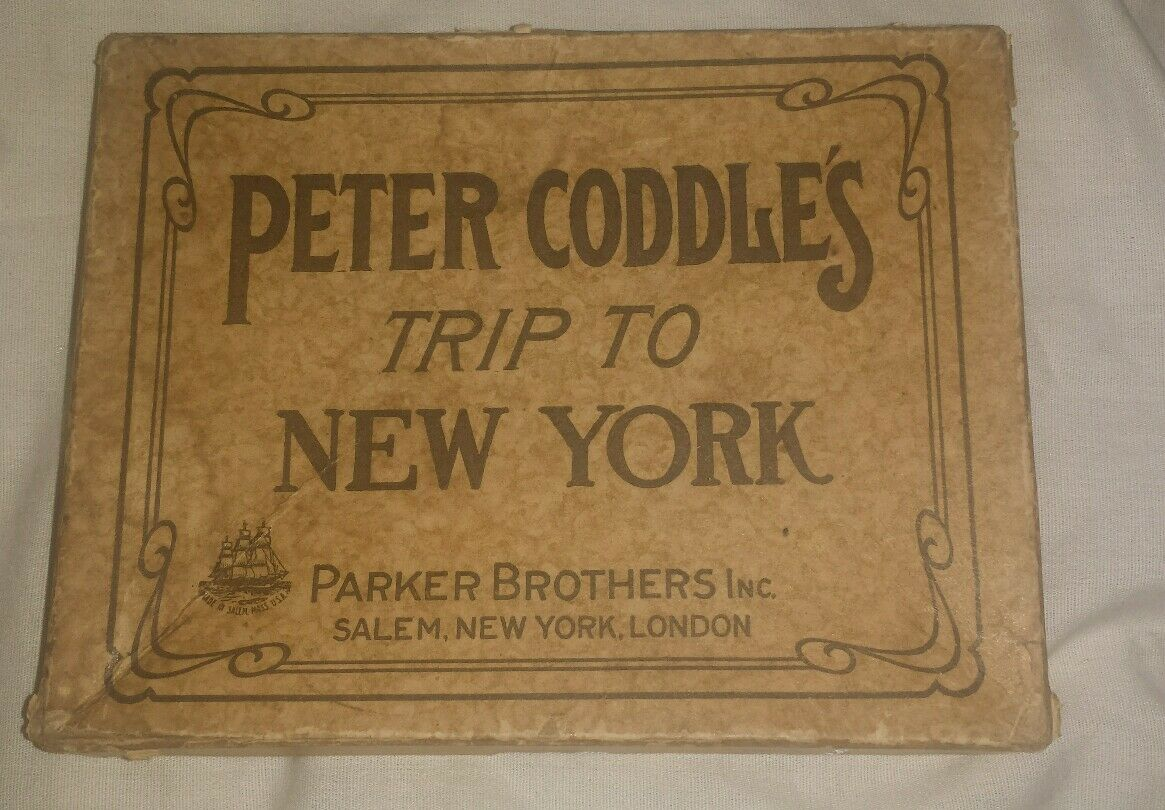 ANTIQUE GAME PETER CODDLE'S TRIP TO NEW YORK w  ORIGINAL BOX & INSTRUCTIONS BOOK