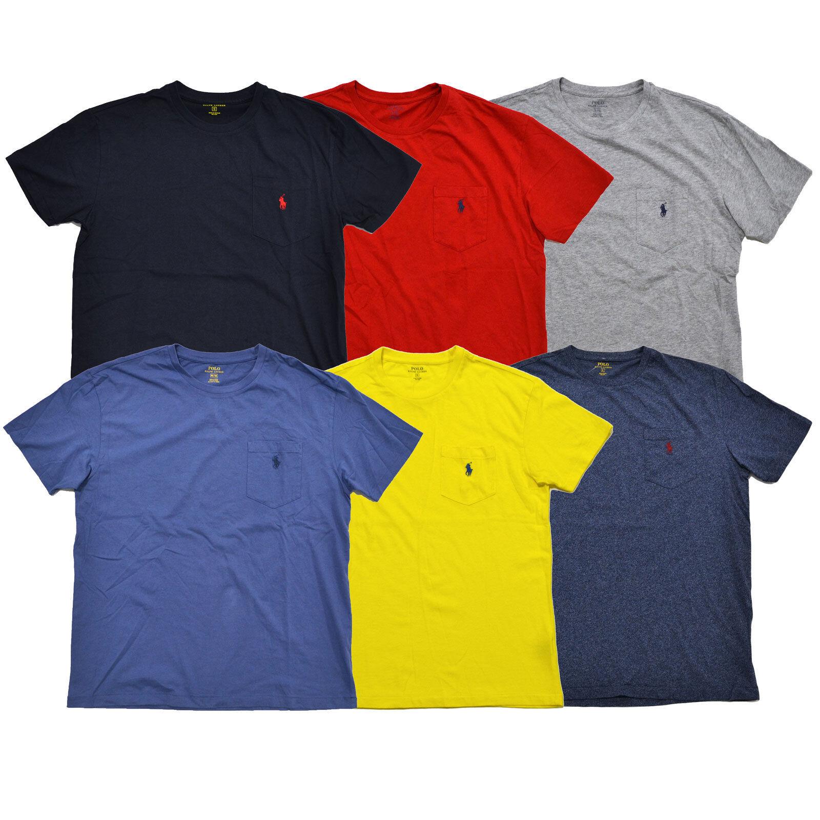 5f0b78ab61f Polo Ralph Lauren Blue Striped Mens XL Pocket Crew Neck T Shirt Ringer for sale  online