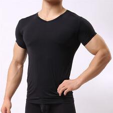 affeef02c939 HOT Mens T-Shirt Bodybuilding Gym V-Neck Top Slim Fitness Sports Tight Short
