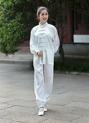 white Hot Sale Chinese women's silk/satin Kung-fu Suit Jacket/Trousers xxs -3XL