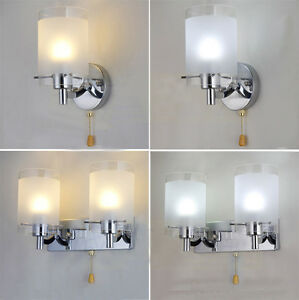 Modern-Silver-Chrome-White-Glass-Indoor-Wall-Light-Lamp-Lights-Fittings