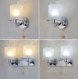 Modern-Silver-Chrome-amp-White-Glass-Indoor-Wall-Light-Lamp-Lights-Fitting-Bedroom