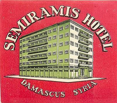 DAMASCUS SYRIA SEMIRAMIS HOTEL VINTAGE LUGGAGE LABEL