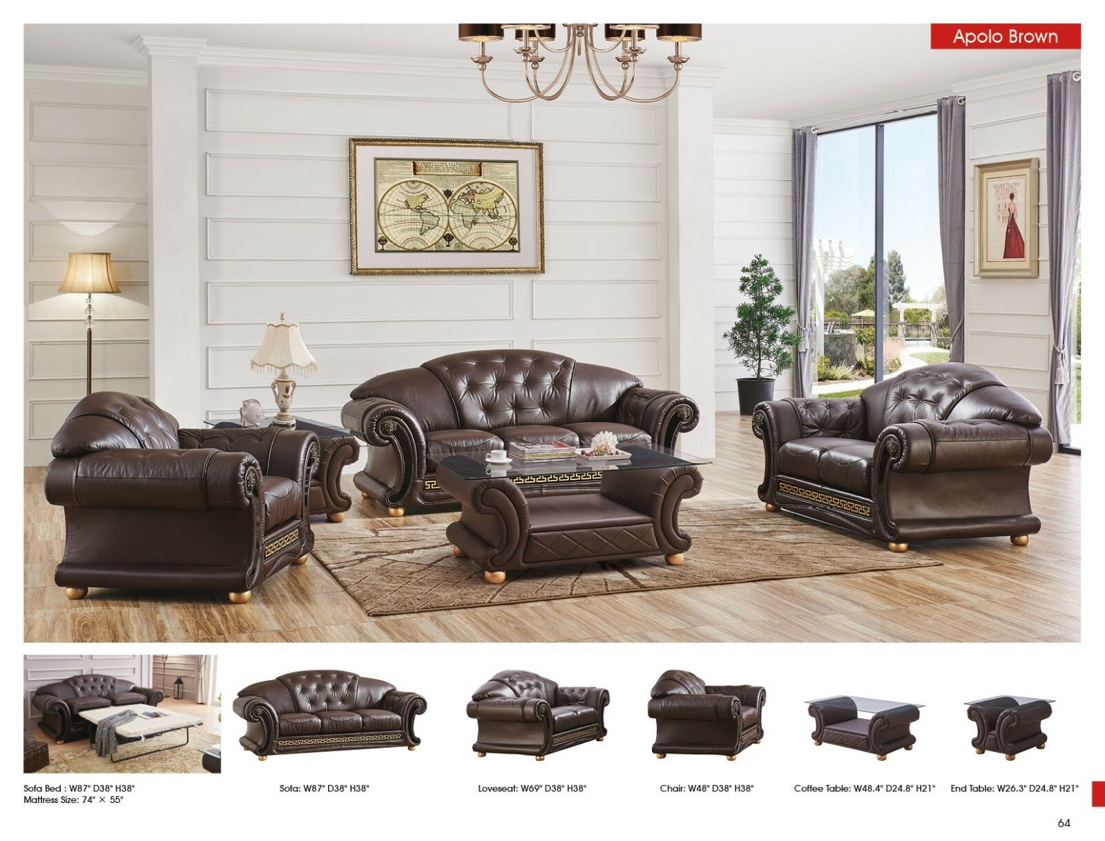 Apolo Living Room Set Sofa Loveseat Chair In Brown Genuine Italian Leather