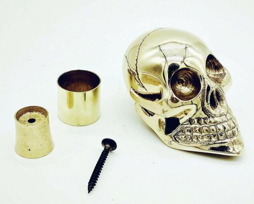 Designer en Laiton Massif Crâne Tête Poignée Pour Canne Arbre avec Accessoris