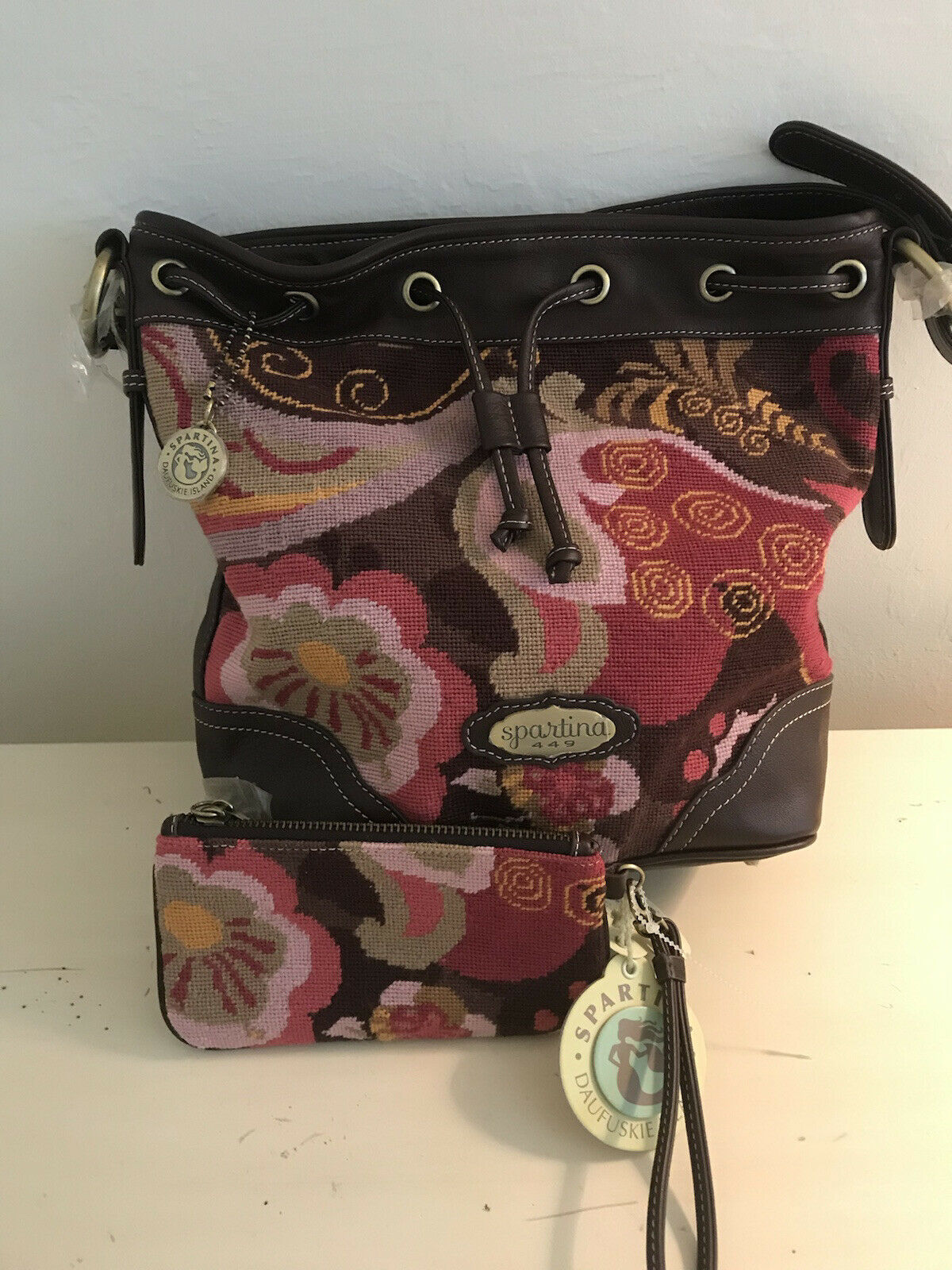 Spartina leather and needlepoint bag and wristlet NWT