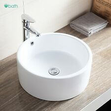 Great Round Ceramic Vessel Sink Bowl White Porcelain Bathroom Basin W/Pop Up Drain