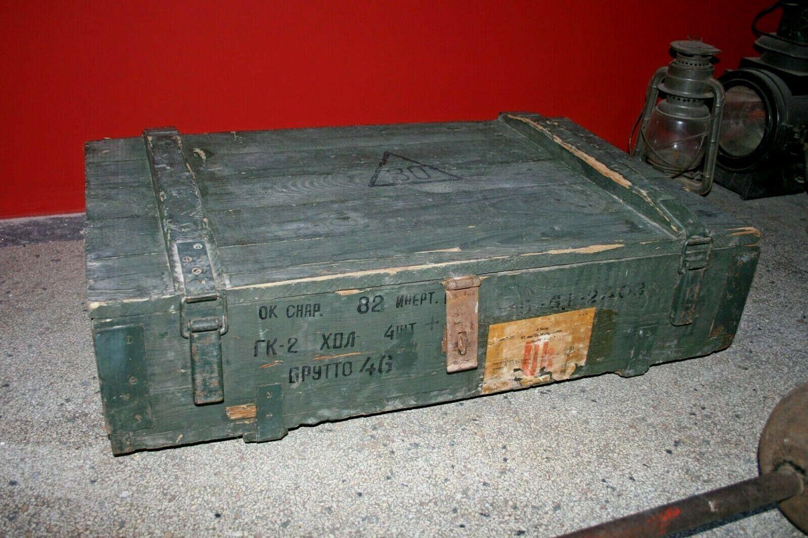 NVA DDR Munitionskiste Transportkiste Militär Kiste Truhe Tisch 85x52x24cm