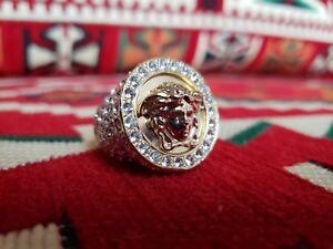 c02c2e56e Versace Men's Women's Gold Medusa Swarovski Crystal Greek Logo Ring ...