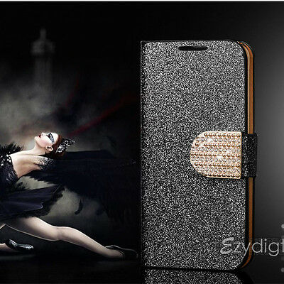 BLACK Bling-Bling Glossy Gilter Wallet Case Cover For Samsung Galaxy S3