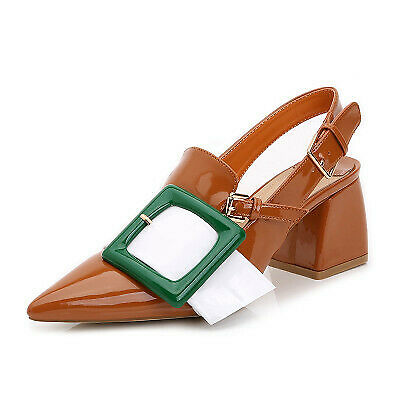 Womens Patent Leather Pointy Toe  Buckle Chunky Heels Slingback Shoes Club Pumps