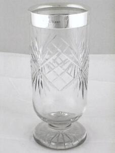 """Antique Sterling Silver Mounted 7 7/8"""" Tall Cut Glass Flower Vase dated 1923"""