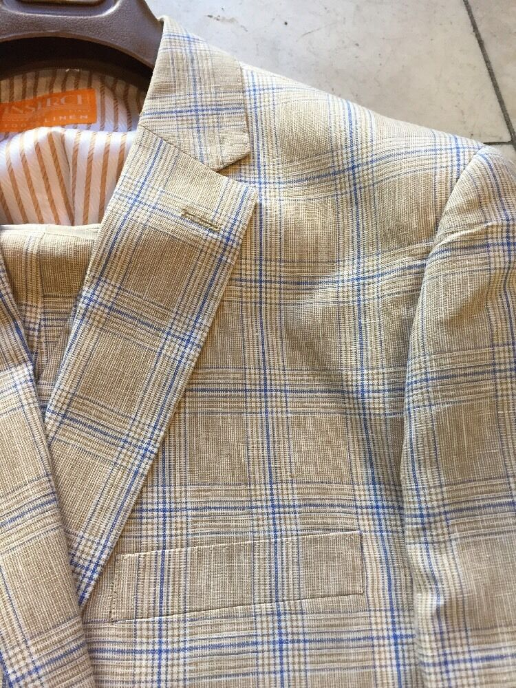 NEW INSERCH MENS 100% LINEN MULTI COLOR PLAID 2BT. SUIT LINED  BEACH WEDDING 52R