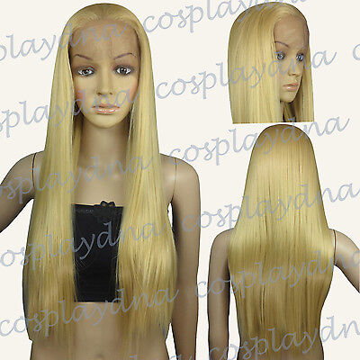28 inch Hi_Temp Lace front Beige Blonde Straight  Long Cosplay DNA Wigs T086