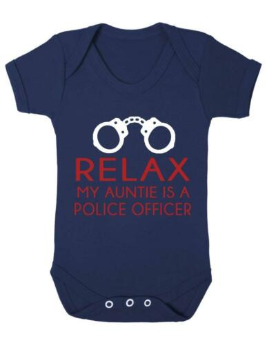 Vest Relax My Auntie Is A Police Officer Funny Baby Bodysuit