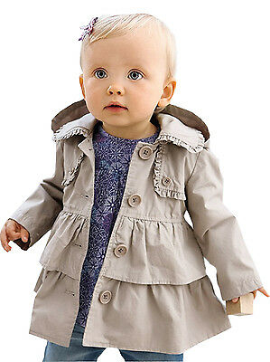 Baby Girl Outerwear 12-18 24 months Toddler Jacket Hooded Coat 2t 3t 4t 5t FT175