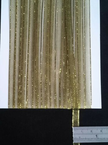 5M 6mm Thin Olive Green Gold Edged Organza Ribbon Trim Card Making Scrapbooking