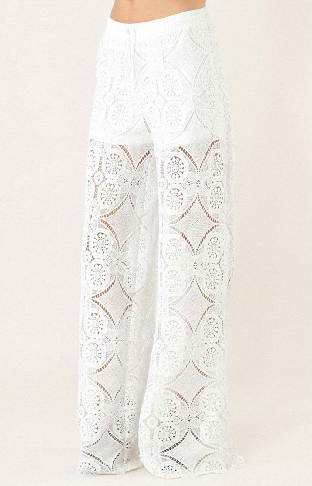 NEW Liberty Garden Lace Wide Leg Pants   Shorts Lining XS S 5BRN8309