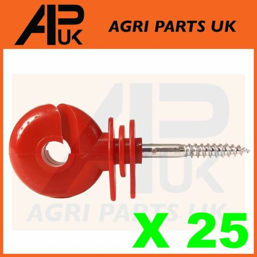 25 x Red Screw Ring Insulators Electric Fence Post Wire Rope Fencing Polywire
