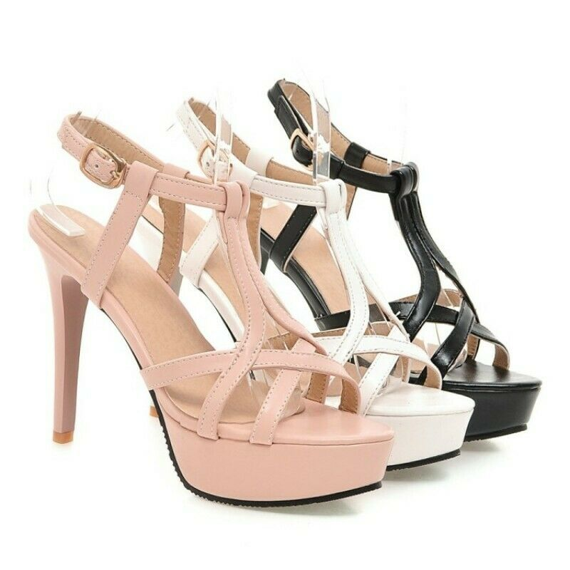 Womens High Stilletto Heel Platform Cut Out Open Toe Sandals shoes Plus Size New