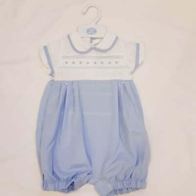 A Boys Spanish Romany Short Set Blue Stripe and White 6,12 /& 18 months