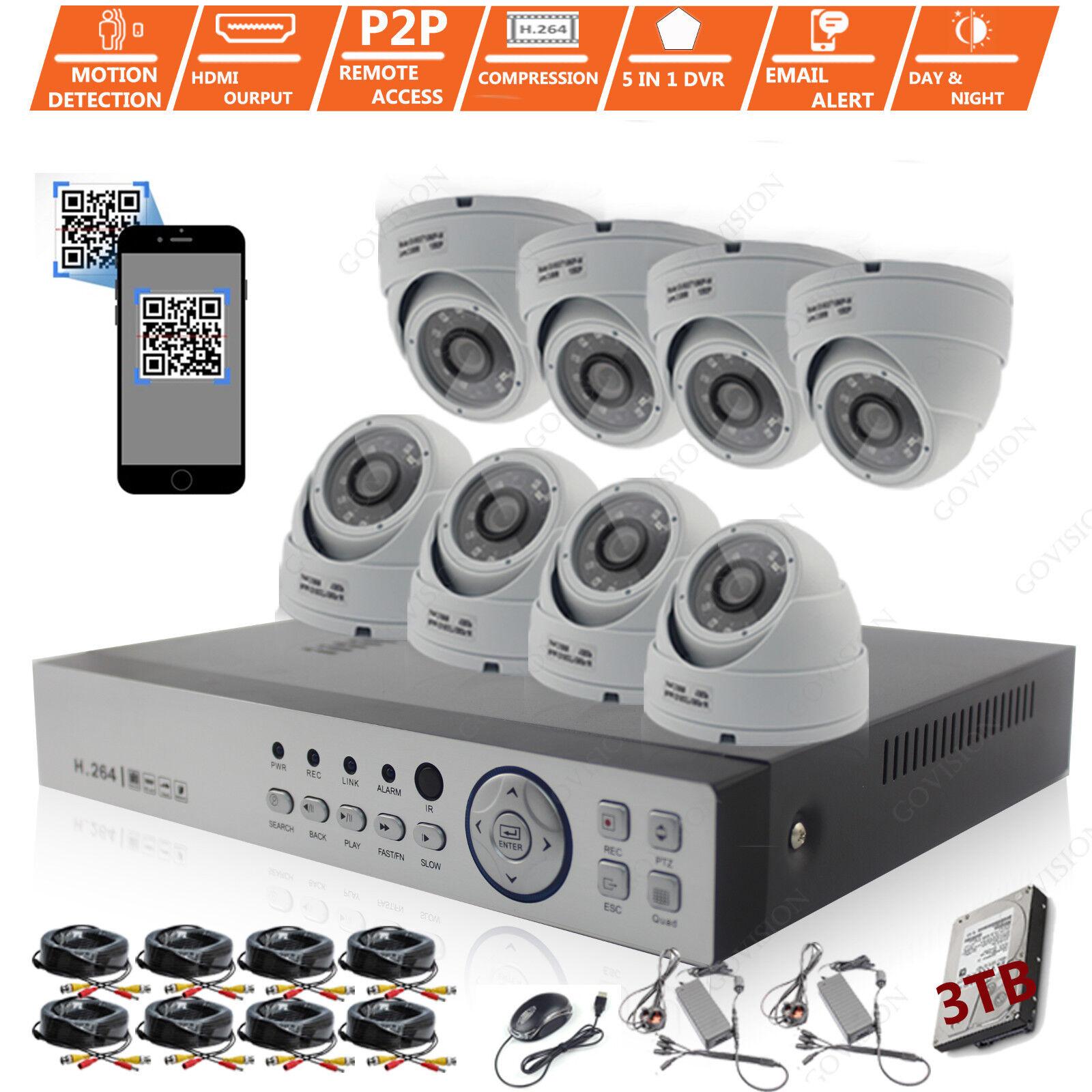 8ch 1080p Lite DVR 4x 3000tvl IR Exterior CCTV Seguridad Cámara Sistema Kit 1tb