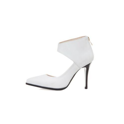 Details about  /Women 34-48 Elegant White Yellow Pink Black High Heels Back Zipper Shoes wx00