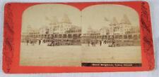 Rare Early Stereoview Card Hotel Brighton Coney Island NY 1860-70 Beach Scene