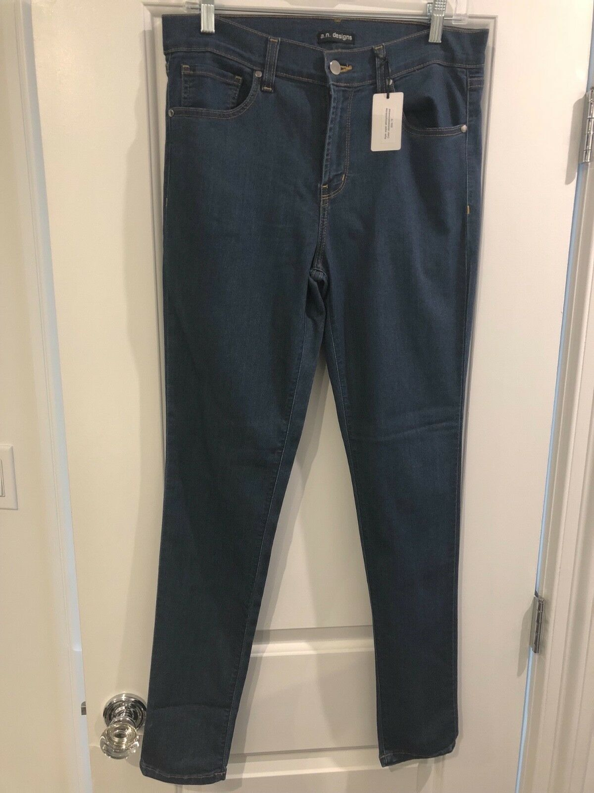 New with tags a.n. designs super skinny   mid-rise stone stretch bluee jeans 12