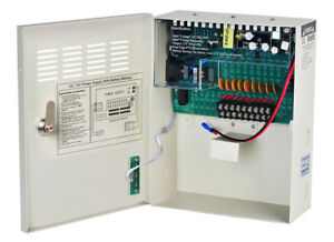 Details about 9Way 12VDC 10A Metal Boxed Cabinet Power Supply PSU with  Backup Battery Link