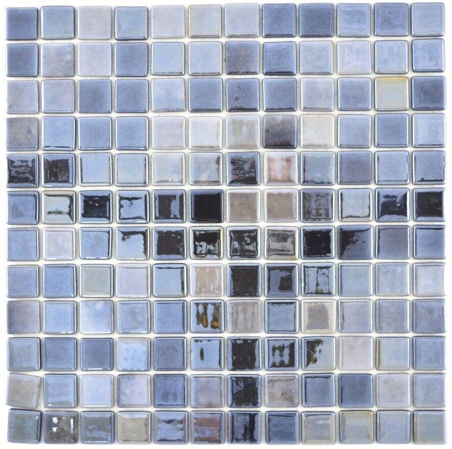 Mosaïque carreau ECO recyclage anthracite métallisé bain 350-08_f   10 plaques