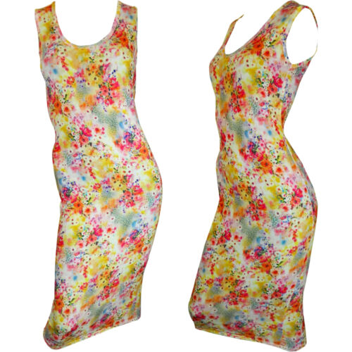 NEW LADIES WOMENS FLORAL NEON PRINT SUMMER VEST STYLE LONG BODYCON MAXI DRESS