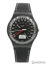 New Swatch Brake Black Silicone Orange/Black Watch 42mm SUOB117 $70