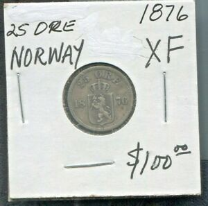 NORWAY-BEAUTIFUL-HISTORICAL-SILVER-25-ORE-1876