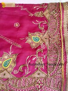 Indian-Traditional-Vintage-Heavy-Dupatta-Pink-Silk-Stole-Fabric-Hand-Beaded