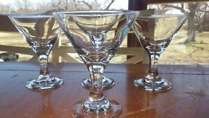 Clear glass cordials liqueurs Aperitif glasses small martini shape stems 4 4 oz