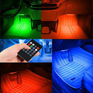 7 Color Rgb Led Neon Strip Light Music Remote Control For Car Interior Lighting Ebay
