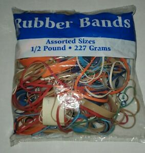 Assorted Color Rubber Bands, Asssorted Sizes, Half Pound (One Bag)