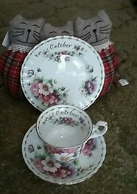 Royal Albert Cosmos October flower of the month cup saucer & side plate trio