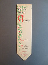 Vintage Greetings BOOKMARK CHRISTMAS Collet's Bookshop Carr Lane HULL Holly OLD