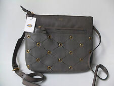 Fossil Tessa PIOMBO Messenger Bag nuovo con etichette