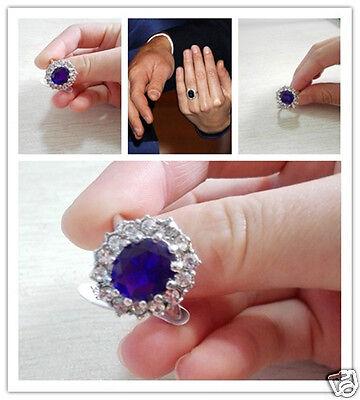Pretty Blue Czech Rhinestone Royal Princess Diana Comparable Wedding Ring an298