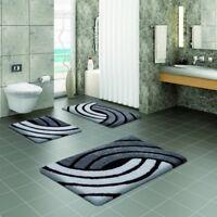 BENE DOMO Non Slip Acrylic Bathroom & Pedestal Mat / Mats Bath Black & White