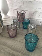 Set of 6 Mercury Glass Tea Light Votive Holders Antique Style