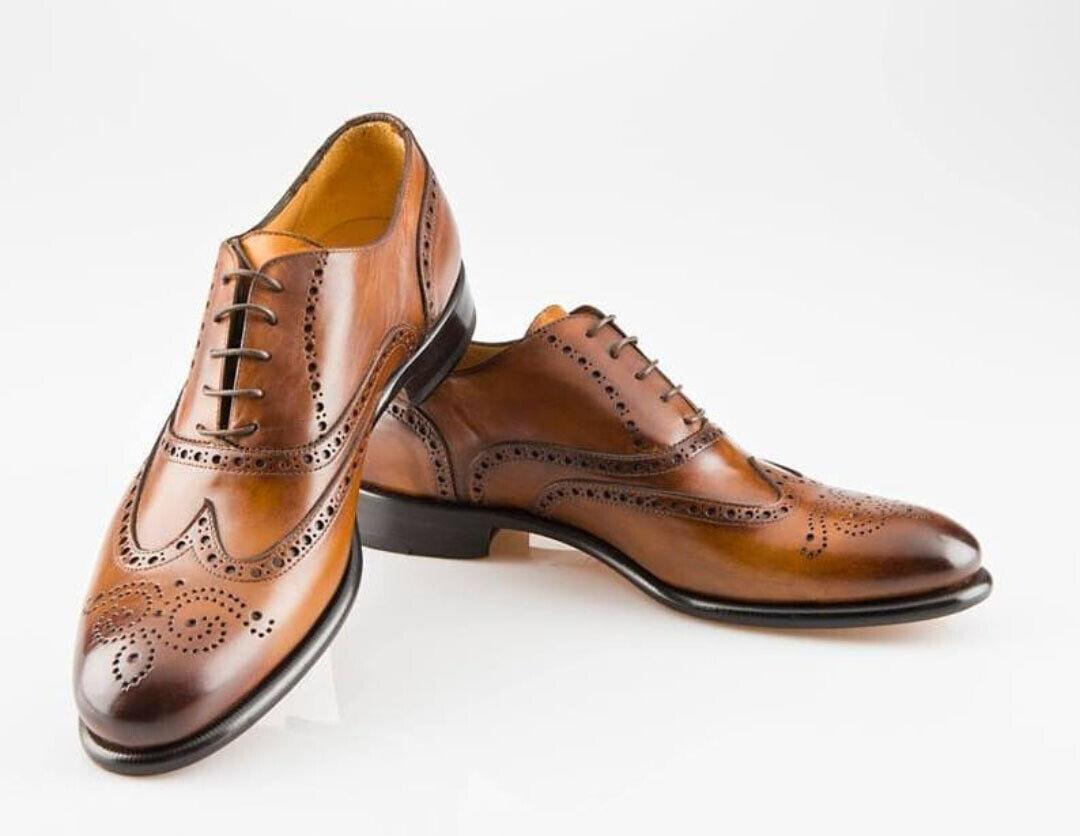 Zapatos De Vestir hecho A Mano Para Hombres Con Cordones Color Bronceado, Para Hombre De Cuero Calzado formal de extremo de ala