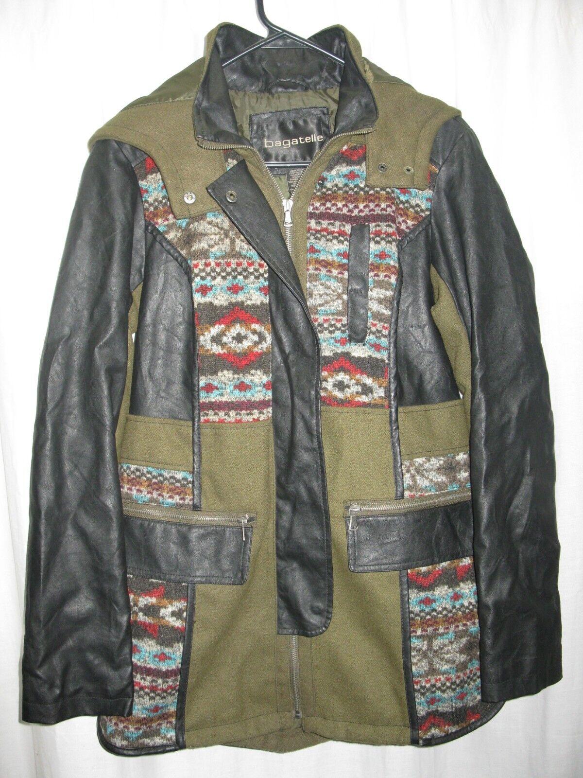Bagatelle Womens Native Aztec Hooded Faux Leather Jacket Coat Size Medium wool