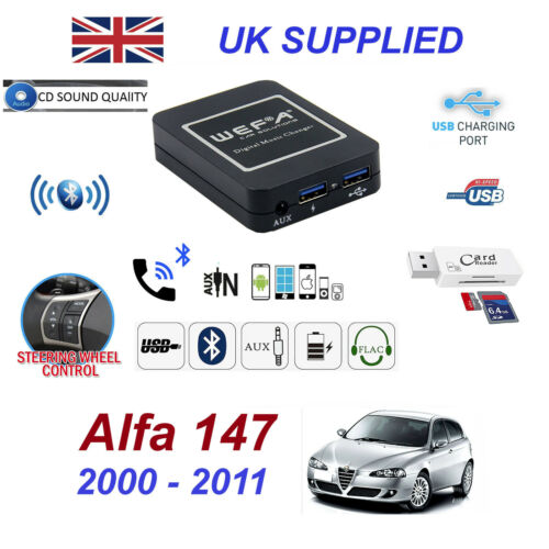 For Alfa Romeo 147 Bluetooth Telephone Streaming AUX Input 2x USB SD Card Reader