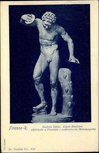 Erotische-Kunst-1910-Skulptur-Mann-nackt-mit-Diskus-AK-Motivkarte-Postcard